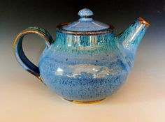 specialty glaze mixtures on a teapot.