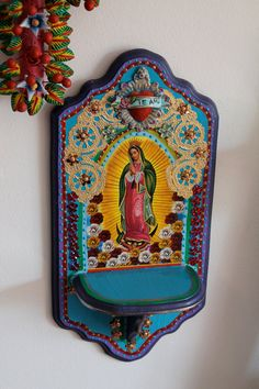 Vibrant image of Our Lady of Guadalupe on upcycled recycled vintage wood altar shelf // bright fun // Primary colors // Te Amo I love you Catholic Crafts, Catholic Art, Religious Art, Religious Icons, Home Altar, Mexican Folk Art, Mexican Style, Our Lady, Vintage Wood