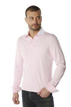 Polo homme rose uni aux coudières et patte de boutonnage en madras rose  contrastant idéalement avec son col blanc. Ce modèle mélange col et poignet  de ... 59813e0d1e04