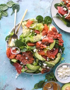 salmon citrus salad with avocado I howsweeteats.com