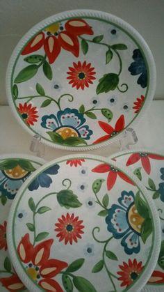 Threshold Melamine Dessert Plates Floral 7\  Set of 6 Stoneware Look # Threshold & 4 Tropical Melamine Plates Luau Dessert Apps Party FlipFlops