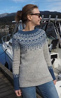 Top down stranded yoke sweater with slits at the bottom.