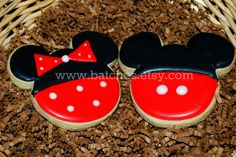 MICKEY / MINNIE SILHOUETTE cookies - 1 Dozen platter sized Decorated Sugar Cookies. $29.00, via Etsy.