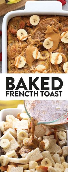 Peanut Butter Banana French Toast Bake - Fit Foodie Finds Are you ready for the most delicious French toast bake recipe? We combed our two favorite flavors, peanut butter and banana, to create an incredible baked French toast casserole recipe. Banana French Toast, French Toast Bake, French Toast Casserole, Healthy Dessert Recipes, Brunch Recipes, Breakfast Recipes, Breakfast Ideas, Healthy Brunch, Desserts