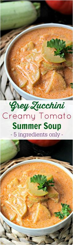 Summer Fresh Creamy Grey Zucchini Tomato Soup - Peas and Peonies #soup #tomatosoup