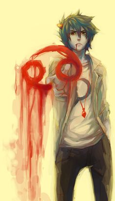 Karkatster by *missingPantaloon on deviantART....I ADORE this punkstuck Karkat art sooo much OMG. I did I paint over the original communism symbol on his shirt and sorta made it into a sickle shape, so I could use it around non-Homestucks. The artwork is not mine though! Sadly )-:B I wish I could draw.