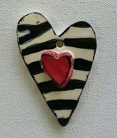 Handmade Ceramic Zebra Heart Pendant Piece