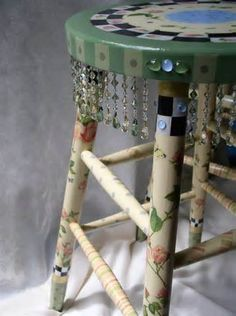 Hand Painted Whimsical Stool -furniture