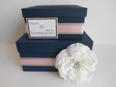 Wedding Card Box, Modern Money Card Box, Custom Made to Order, Gift Card Box Holder, Navy and Pink Wedding by astylishdesign on Etsy https://www.etsy.com/listing/265975242/wedding-card-box-modern-money-card-box