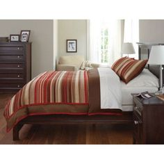 Canopy Soft Textured Striped Chenille 3-Piece Comforter Cover Set, Rich Plum, Red