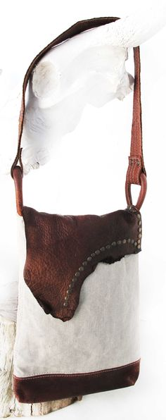 Marek linen and leather bag- RAWEDGE