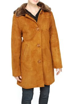 Aston Women's Sheepskin Shearling Hooded Car Coat (Suede -S)