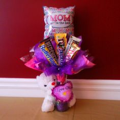Mother's Day Candy Bouquet w/Mother Bear, vase filled with candy.