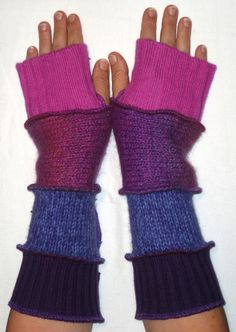Fun fingerless gloves, made from recycled sweaters