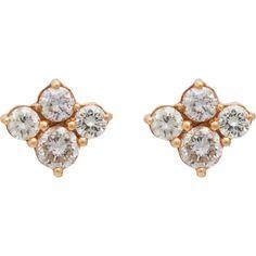 Sara Weinstock Diamond & Rose Gold Cluster Studs ($2,360) found on Polyvore