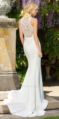 Crepe racer back wedding dress by Camille La Vie