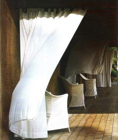 White panels blowing in the wind, image via Maisons Côté Outdoor Curtains, Linen Curtains, White Curtains, Porches, Outdoor Spaces, Outdoor Living, Best Interior, Interior Design, Pergola