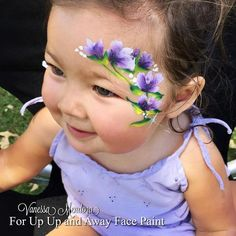 Flower Face Painting - Color Me Face Painting - Vanessa Mendoza Face Painting Colours, Face Painting Images, Face Painting Flowers, Girl Face Painting, Face Painting Designs, Body Painting, Face Paintings, Easter Face Paint, Skin Paint
