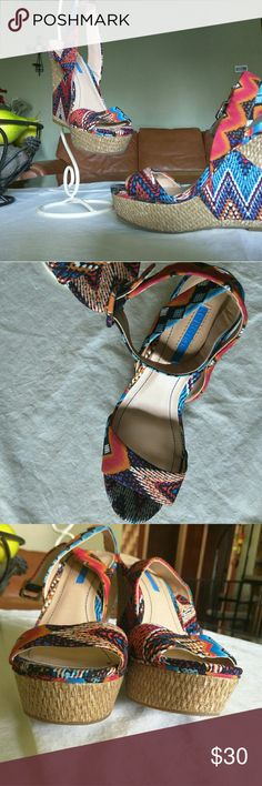 """Shoes Lightly used, Espadrille Wedge  Sandals.  Very vibrant colors. 5"""" heel. BCBGeneration Shoes Espadrilles"""