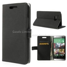 Small Litchi Pattern Leather Wallet Case for HTC One M8 - Black - HTC One M8 Leather Case / HTC One M8 Leather Cover / HTC One M8 Leather Skin - Guuds Online Wholesale - Mobile Phone Accessories - Mobile Parts from China