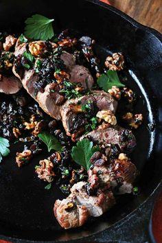 Easy Holiday Pork Tenderloin with Bacon Raisin Chutney