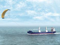 Kite-zeil trekt vrachtschip: energiebesparing tot 50%