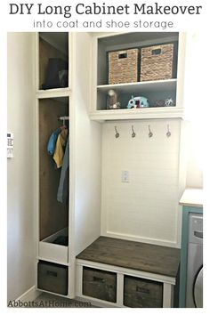You'll love this DIY Tall Cabinet Makeover into Coat and Shoe Storage. Convert any cabinets into pretty open cabinet storage with these tips and steps that'll make sure your open cabinets look like custom built-ins. Outdoor Shoe Storage, Coat And Shoe Storage, Entryway Shoe Storage, Diy Shoe Storage, Storage Ideas, Entryway Ideas, Hallway Ideas, Storage Solutions, Diy Storage Cabinets