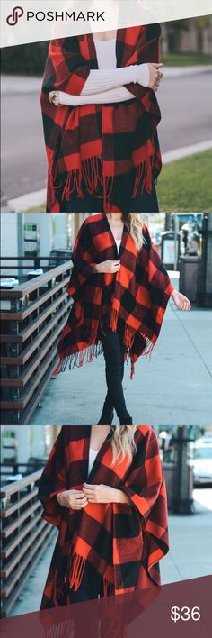 RESTOCKED!!! Plaid Poncho Red/Black One size. 100% acrylic. Sweaters Shrugs & Ponchos
