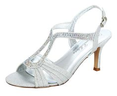 a38c305bb7f7 De Blossom Collection Rhinestone Studs Low Medium Heels TStrap Strappy  Sandals Ankle Strap Silver 75     Find out more about the great product at  the image ...