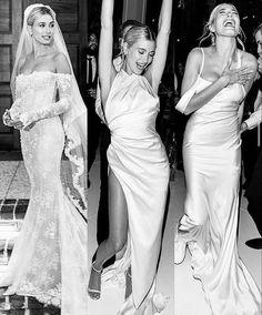 Happiness is wearing THREE dresses in one (wedding) day! Off White Wedding Dresses, Celebrity Wedding Dresses, Wedding Dresses Plus Size, Wedding Dress Styles, Dream Wedding Dresses, Celebrity Weddings, Justin Bieber, Hailey Bieber Wedding, Hailey Baldwin Wedding Dress