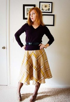linda skirt pattern from burda (wool plaid circle skirt with a bit of horse hair braid at the hem)