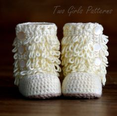 Baby Crochet Boots Pattern - Furrylicious Booties - Pattern number 200.  $5.50 pattern only.