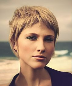 A short blonde straight coloured choppy hairstyle by La Biosthetique