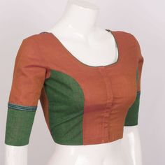 Hand Crafted Cotton Blouse With Lining & Long Sleeve 10015303 - size 36 - side - AVISHYA.COM