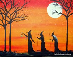 Witches Maiden Mother Crone Painting large by WitchHollowPrims, $40.00