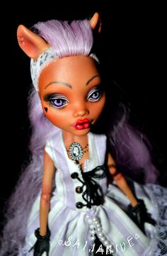 monster high repaint custom doll ooak pastel lavender rococo Clawdeen - Macaron