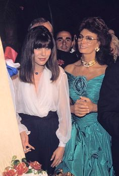 Princess Caroline of Monaco with Italian actress,Sophia Loren at the opening dinner of the  42th Cannes Film  Festival. May11,1989.