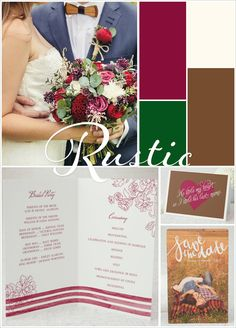 Rustic Burgundy and Green Wedding Color Inspiration