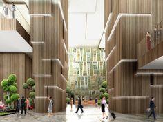 Kohn Pedersen Fox Associates: Projects: Yongsan IBD Block H Atrium Design, Column Design, Lobby Design, Architectural Lighting Design, Architectural Features, Hotel Interiors, Office Interiors, Wall Cladding Designs, Lobby Reception