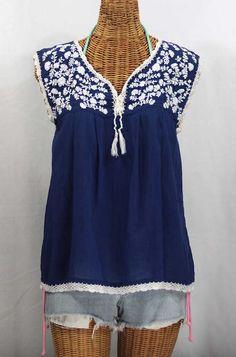 "Siren ""La Marbrisa"" Sleeveless Mexican Blouse -Denim   White Embroidery $52.95"