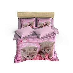 6 Pieces Queen Size Cotton Bedding Set Cat Pattern 640 Thread Count Duvet Cover Set - Little Cute Kitty Animal Print, Pink Lilac Brown *** Click sponsored image for more details.
