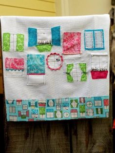 Flamingo Toes Blog - I love the way she takes the designs from the fabric up for the appliques in the dishtowel!
