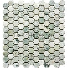 Hexagon Tumbled Ming Green Mosaic Tile Finish: Tumbled Colors: Variations of Green Sheet Size: x Category: Hexagon Mosaic Stone : Marble Applications Shower Floor Tile, Bathroom Floor Tiles, Bath Shower, Green Mosaic Tiles, Hexagon Tiles, Fireplace Tile Surround, Tiles Texture, Bathroom Interior Design, The Ranch