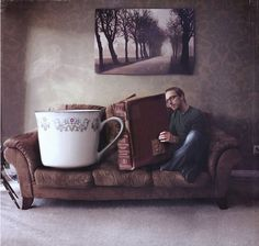 the joy of reading - Joel Robinson. a cup of tea large enough? a book long enough? MAAAAAAAAAAAYBE on the tea. try again with the book. I Love Books, Good Books, Big Books, Reading Books, Creative Photography, Art Photography, Reading Pictures, Weird Pictures, Great Novels