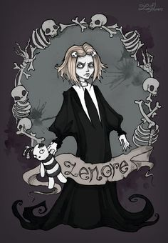 """A Dirge for her the doubly dead in that she died so young (Edgar Allan Poe. 1831) Lenore, The Cute Little Dead Girl is a black comedy comic series created by Roman Dirge, inspired by the poem """"Leno..."""