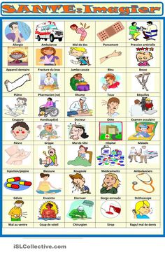Now a series of worksheets dealing with small health problems, first a pictionay, hope you will like it, hugs Sylvie! French Words, English Words, Words Related To Health, French Expressions, Class 8, French Resources, Vocabulary Worksheets, Broken Leg, Teaching French