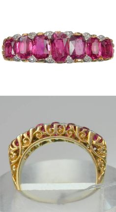 Antique No Heat Burma Ruby Diamond Gold Band Ring. 7 rubies cross the finger with approx. 4 cts. of natural Burma, no heat, ruby. Tiny diamonds fill the interstices of each edge in an 18K. This English heirloom is 1 inch wide and a quarter inch deep. Ca. 1900, 18k gold, diamond, ruby, (w) 1 in. (3 cm), (d) 0.25 in. (1 cm), Belle Époque