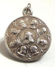 Antique Queen Victoria's Family Silver Charm, 1896