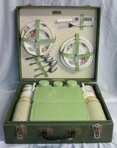 Green picnic hamper. A smaller version of my grandparents picnic case that we still have fully intact!
