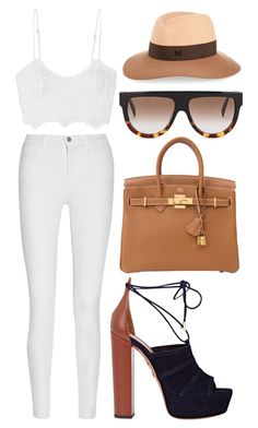 """""""Untitled #1444"""" by victoriaxo97 ❤ liked on Polyvore featuring Miguelina, CÉLINE, Aquazzura, Maison Michel and J Brand"""